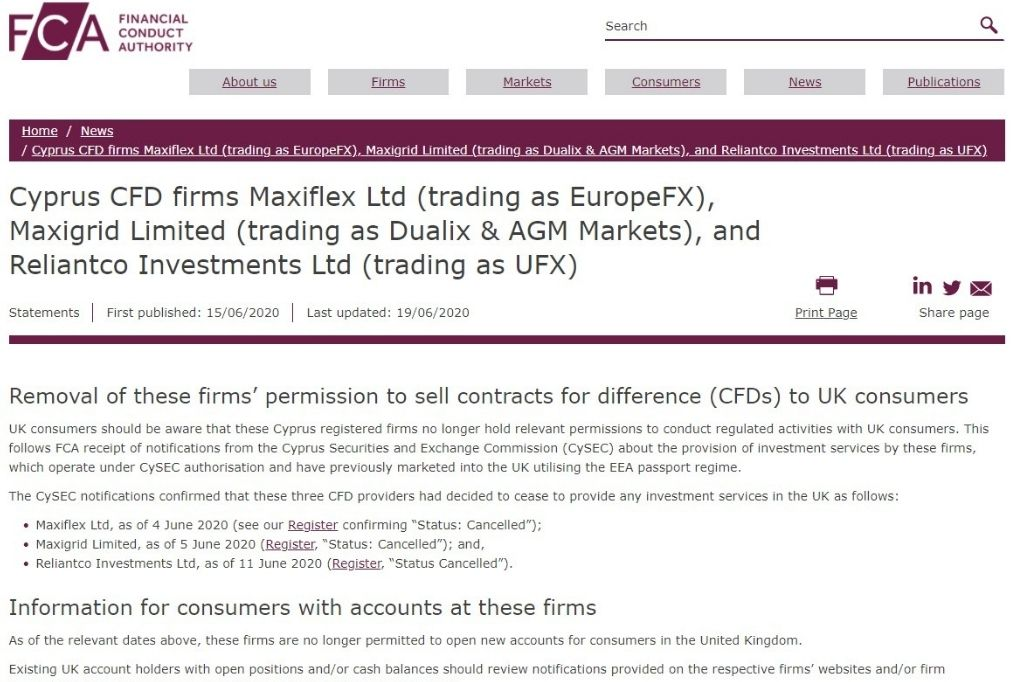FCA issued a warning brokers EuropeFX