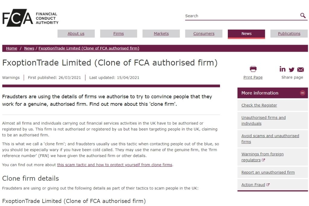 FxoptionTrade Limited (Clone of FCA authorised firm)