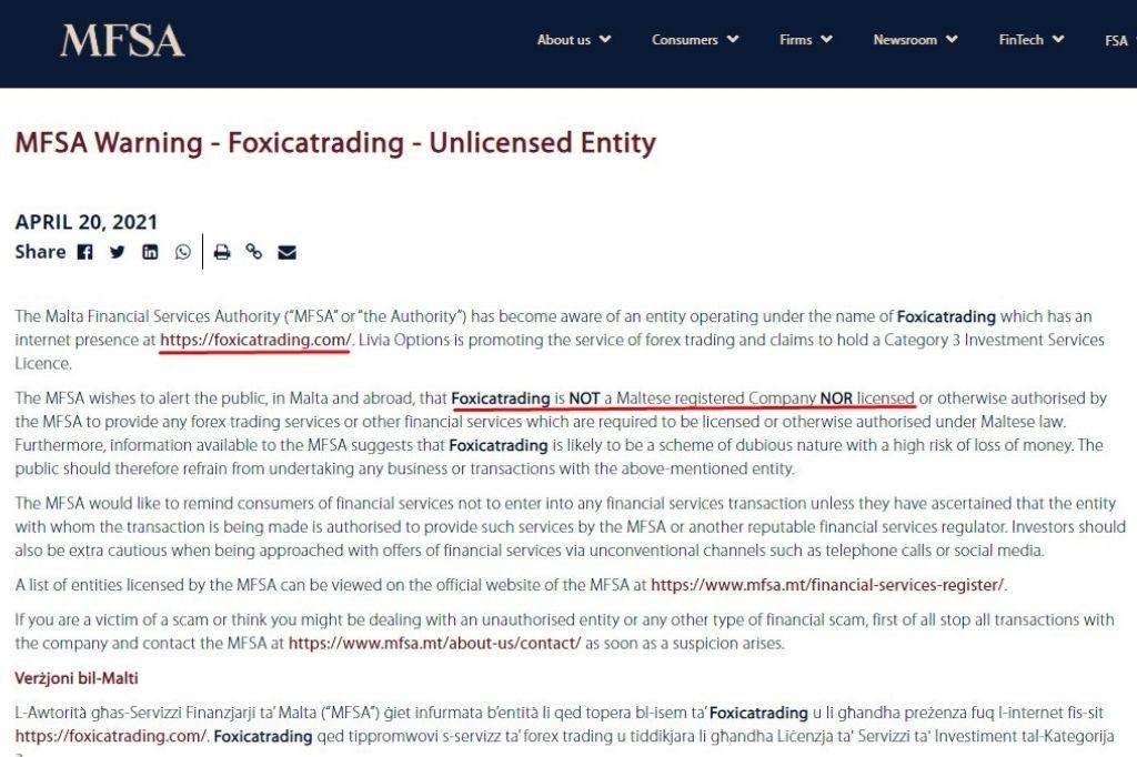MFSA Warning - Foxicatrading