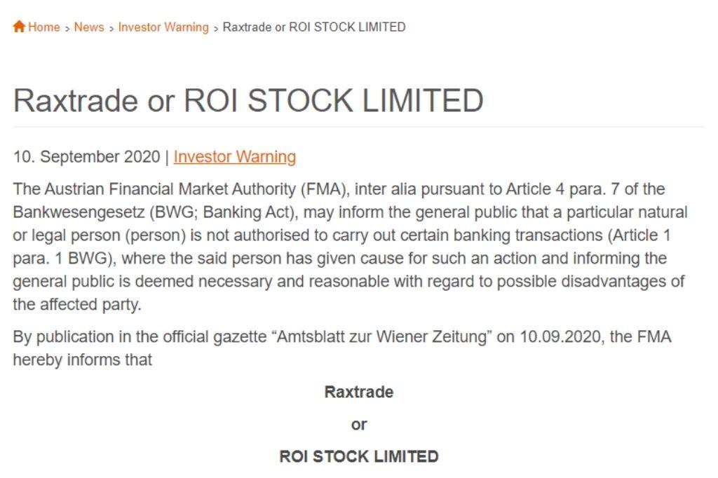 Raxtrade FMA warning