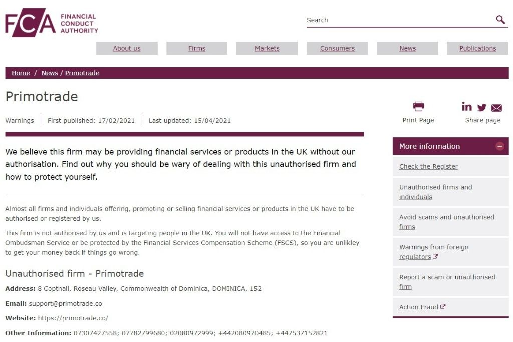 scam brand PrimoTrade blacklisted by the UK FCA