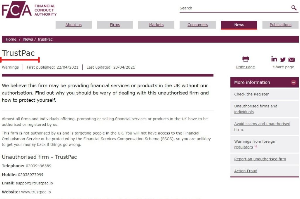 UK regulatory FCA warning Trustpac