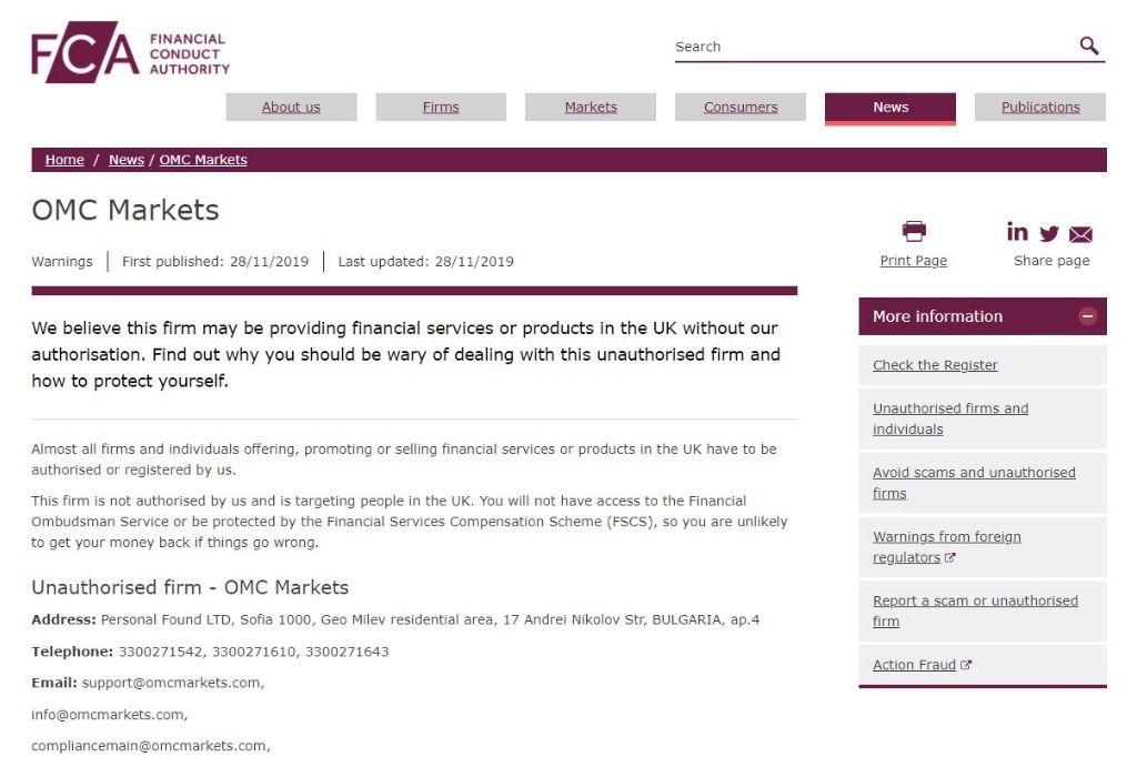 FCA warning against OMC Markets