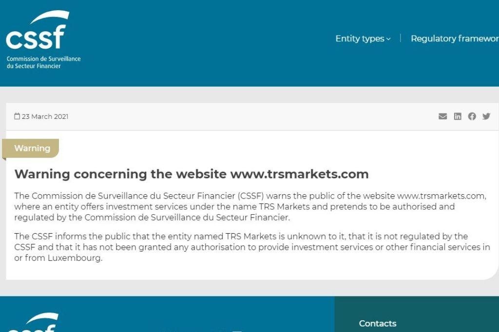 Warning concerning the website www.trsmarkets.com