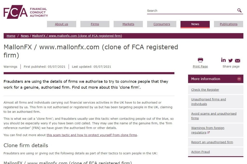 FCA warning MallonFX