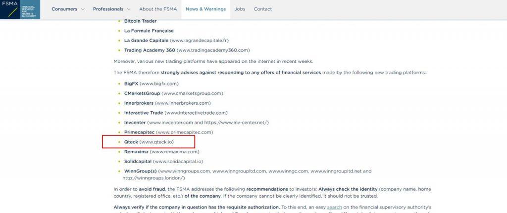 Belgium FSMA issued an official warning against Qteck broker