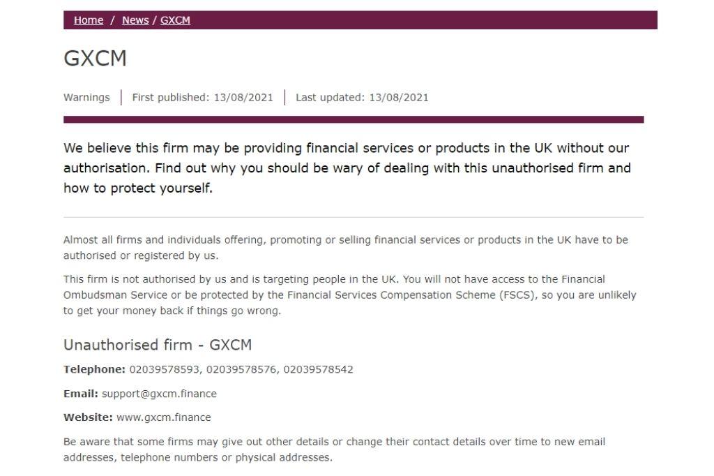 GXCM Blacklisted by FCA