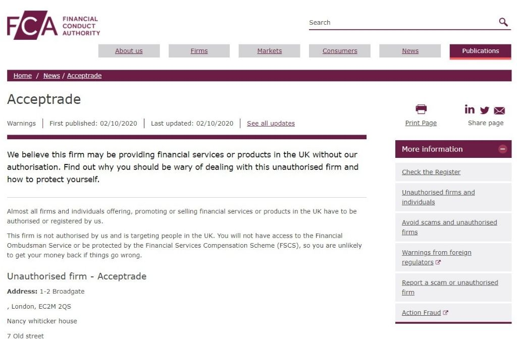 UK FCA issued an official warning against the broker Acceptrade