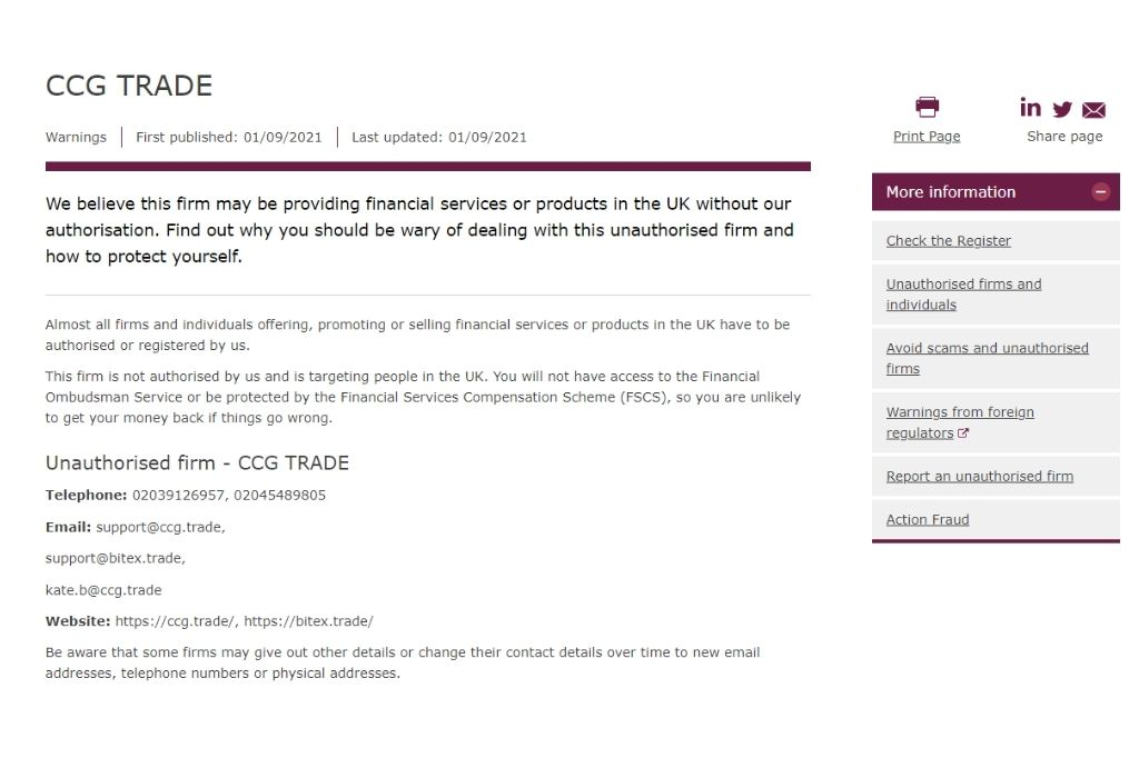 CCG Trade Blacklisted By FCA