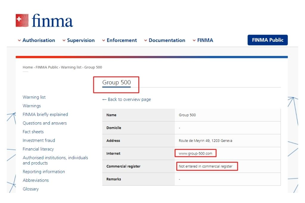 Group 500 blacklisted by FINMA